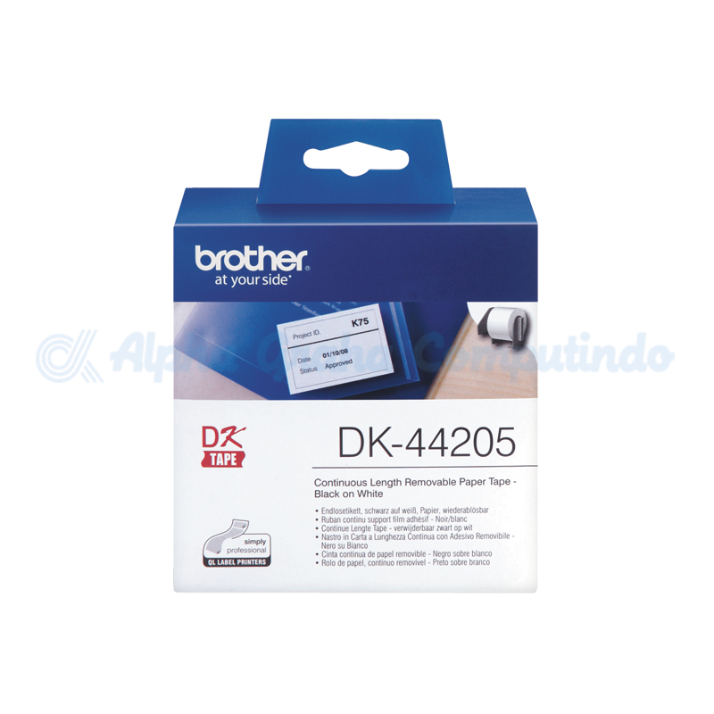 BROTHER Continuous Paper Label Roll with Removable Adhesive [DK-44205]