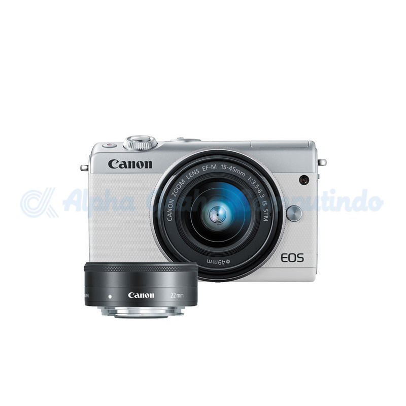 Canon EOS M100 White with EF-M15-45mm/22mm [EOSM100-W3]