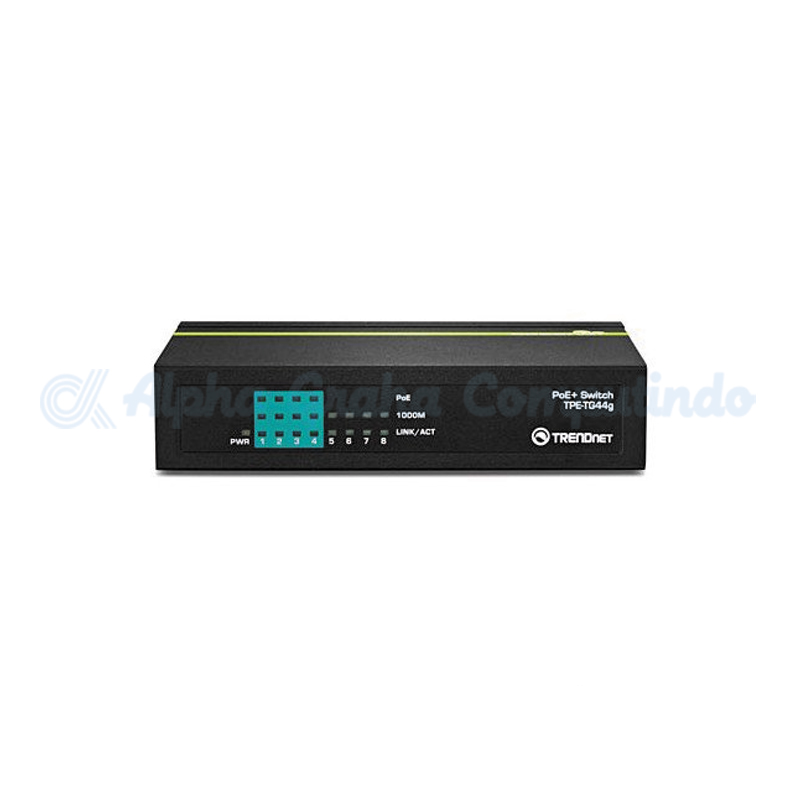 TRENDnet  8-port Gigabit PoE Switch (4 port gigabit PoE / 4 Gigabit Port) Half PoE+ [TPE-TG44g (PoE+)]